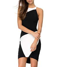 Black White Asymmetrical Short Sheath Dress – Marvelous Modern Art