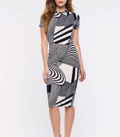 89cf06b0 Bodycon Sheath Dress – Black White Optical Illusion Print