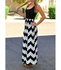 Chevron Maxi Dress – Low Cut Black Tank Bodice / Natural Waist