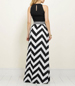 Halter Style Maxi Length Dress – Bold Black / White Graphic Stripes / Contrasting Waistband