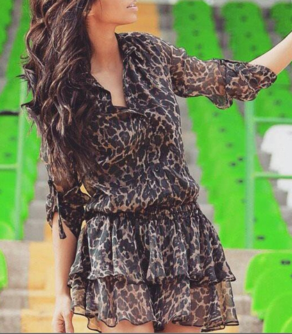 Leopard Print Chiffon Dress – Half Sleeves / Tiered Skirt