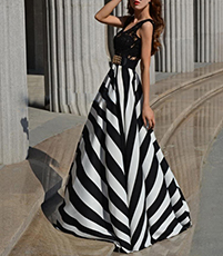 Black White Maxi Chevron Dress – Black Vest Top / Zebra Striped Skirt Section