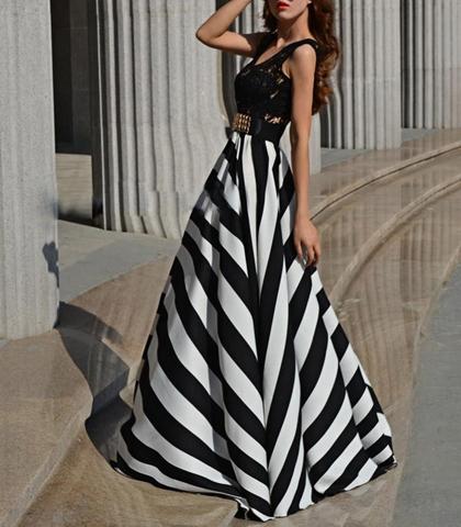 Black White Maxi Chevron Dress - Black Vest Top / Zebra Striped ...