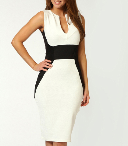 Fitted Knee Length Dress – Black White / Low Cut Neckline