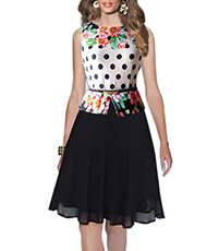 Prom Dress – Polka Dot Top Section / Black Skirt Section in Tulle Underlining