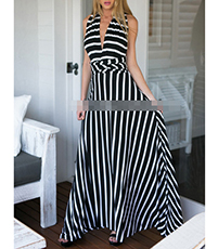 Stripy Maxi Dress – White Black / Short Sleeves / Racer Front and Back