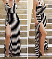 Stripy Dress – White Black / Spaghetti Straps