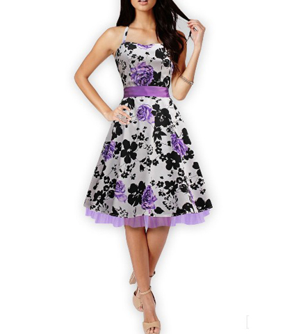 Purple Black White Dress – Floral Printed / Ribbon Belt