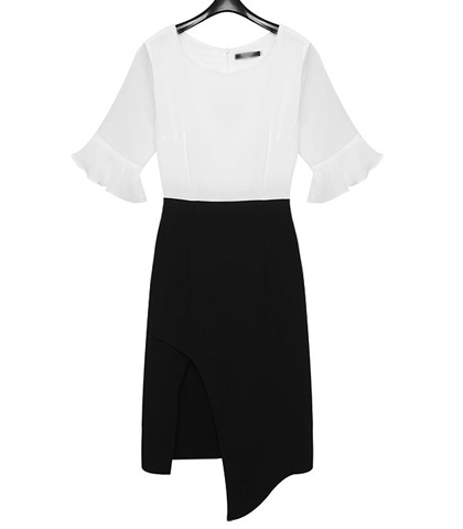 Black White Dress – Skirt with Slit in / White Sheer Sleeves