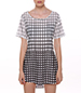 Hi Low Hem Tee Shirt Dress – White Black Plaid
