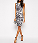 Knee Length Sheath Dress – Newsworthy Lace Print / White Black