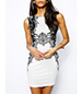 Sheath Dress – White Black Lace Print