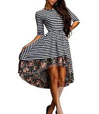 Striped Skater Dress – White Black / Full Circle Skirt