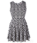 Chevron Sleeveless Skater Dress – White Black / Jewel Neckline