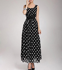 Chiffon Maxi Dress – White Black Polka Dot / Gathered Waist