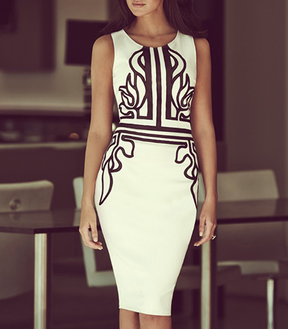Sheath Dress – Midi Length / Winter White With Black Trim