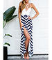 Maxi Dress – Chevron Print / White Black / Multiple Spaghetti Straps