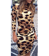 Leopard Print Dress – Knee Length / Long Sleeves