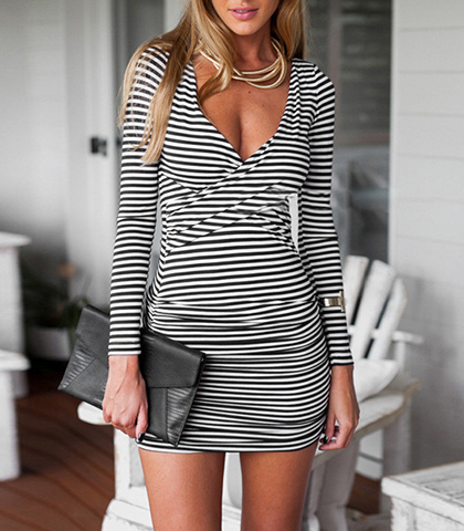 Mini Dresses Deep V Neck White Black Striped