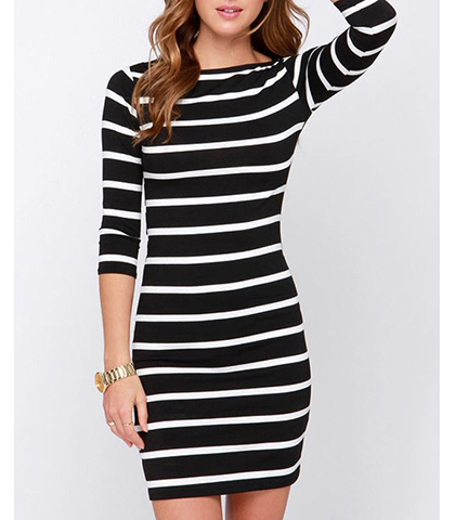 ed6a5dd8119 Bodycon Dress - Black and White Horizontal Stripes   Long Sleeves