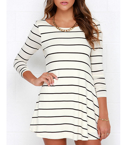 Mini Dress – White Black / Horizontal Stripes / Swing Style