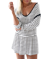 Cute Mini Dress – White Black Stripes / Dropped Waist