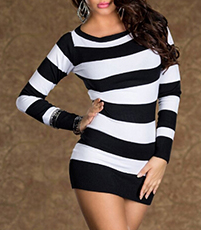 Mini Dress – White Black / Horizontal Stripes / Long Sleeves