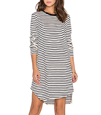 Elliptical Hem Dress – Black and White / Stripes