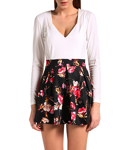 Mini Dress – Black White / Floral Pattern / Low Vee Neckline / Long Sleeves