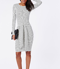 Knee Length Fitted Dress – Gray and White / Vertical Stripes