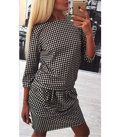 Dropped Waist Midi Dress – Black and White Checks / Three Quarter Length Sleeves