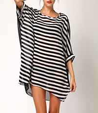 Sheer Mini Dress – Black and White Stripes / Cold Shoulder