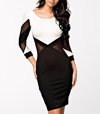 Geometric Bodycon Dress – Black and White / Low Back