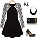Skater Dress – White Black / Lace Covered Sleeves