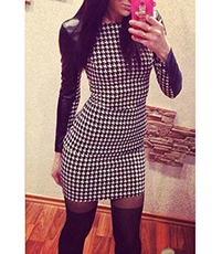 Shift Dress – Black White Checks / Faux Leather Sleeves