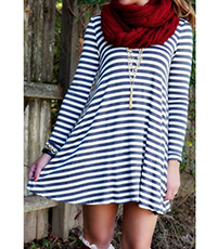 Swing Style Mini Dress – Black and White Stripes / Low Back