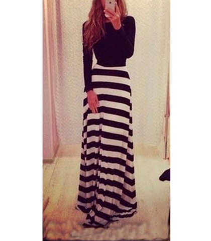 Black and white striped maxi dress with blue bottom