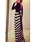 Long Sleeve Chevron Maxi Dress – Black and White / Stripes
