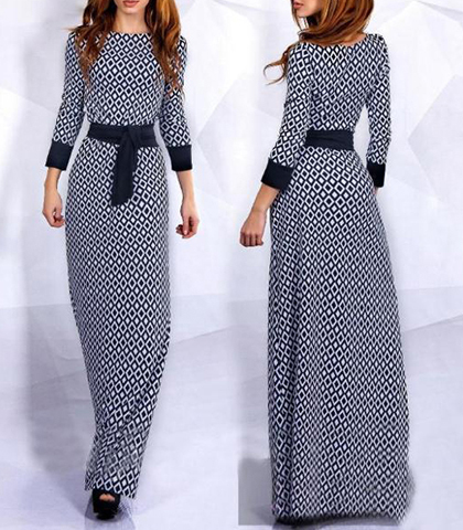 Long Sleeve Maxi Dress Black Trim Black And White Geometric Print