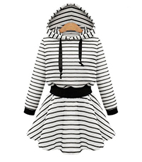 White Black Short Hooded Dress – Long Sleeves