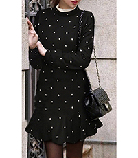 Flounce Skirt Mini Dress – Black White Polka Dots / Long Sleeves / Mermaid Style
