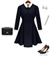 Fit and Flare Dress – Black with White / Long Fitted Sleeves / White Collar