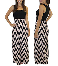 Sleeveless Dress – Chevron Pattern Skirt / Scoop Neckline / Floor Length