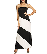 Off The Shoulder Full Length Gown -Broad Vertical Stripes / Bold Design