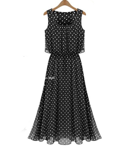 Chiffon Dress – Retro Styling / Polka Dot Pattern / Scoop Neckline / Sheer / Lined