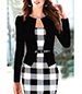 White Black Jacket Dress – Long Sleeves / Belted / Large Checkered Pattern / Scoop Neckline