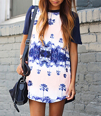 T-Shirt Dress – Short Sleeves / Blue and White Print Front / Round Neckline / Curved Hem