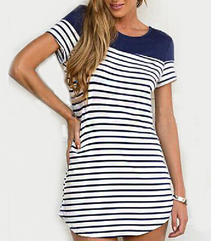 T-Shirt Dress – Round Neckline Collar / Short Sleeves / Blue Horizontal Stripes on White