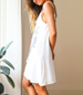 White Printed Beach Dress – Thin Straps / Keyhole Opening in Bodice / Loop String Tie
