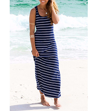 Sleeveless Beach Long Dress – Narrow Back / Round Neckline / Calf Length